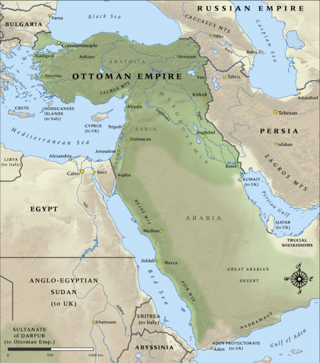 The Ottoman Empire of 1914 was something of a far cry of its previous size but still commanded a respectably large amount of territory.