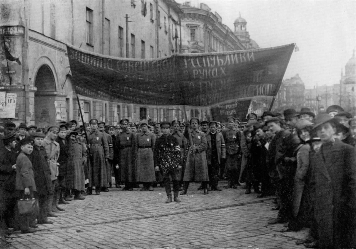 Photo of the Red Army marching through the streets of Moscow during the Russian Civil War.