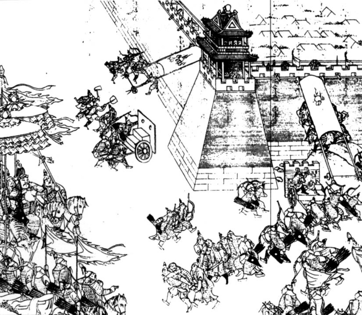 Artistic depiction of the Battle for Ningyuan; a major conflict during the Qing-Ming Transition.