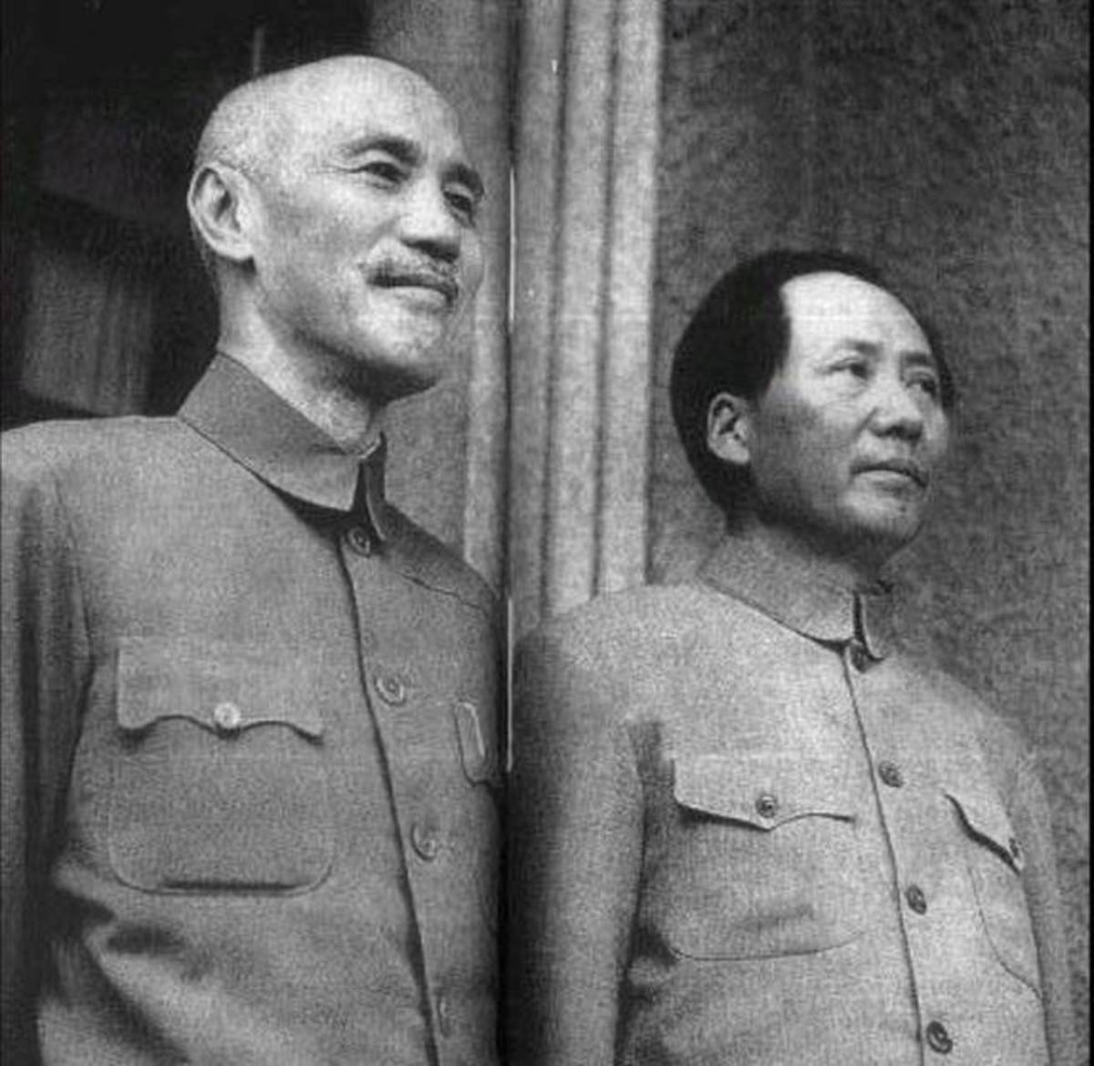 Photo of Chiang Kai-shek (left) and Mao Zedong (right); the two major leaders of the Chinese Civil War.