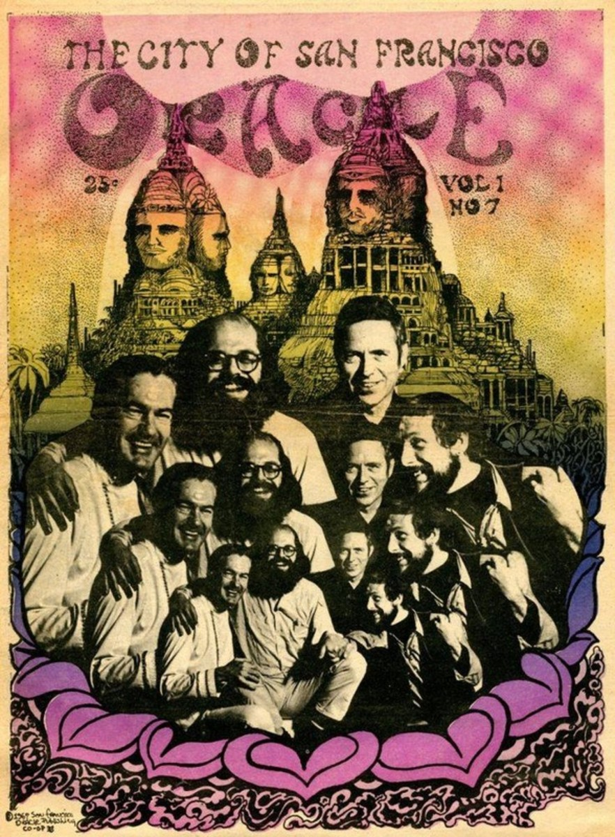 Timothy Leary, Allen Ginsberg, and Gary Snyder on the cover of the SF Oracle. Photo by Paul Kagan.