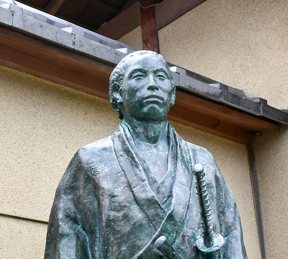 Statue of Sakamoto Ryōma at the outskirts of Kyoto City.