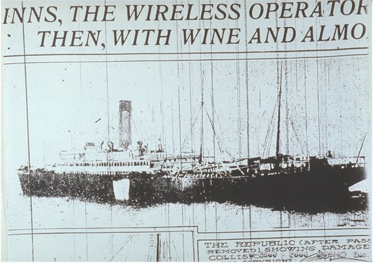 Newspaper clipping showing the collision