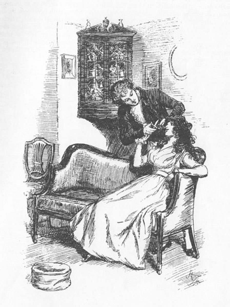An illustration of Marianne giving Willoughby a lock of hair.