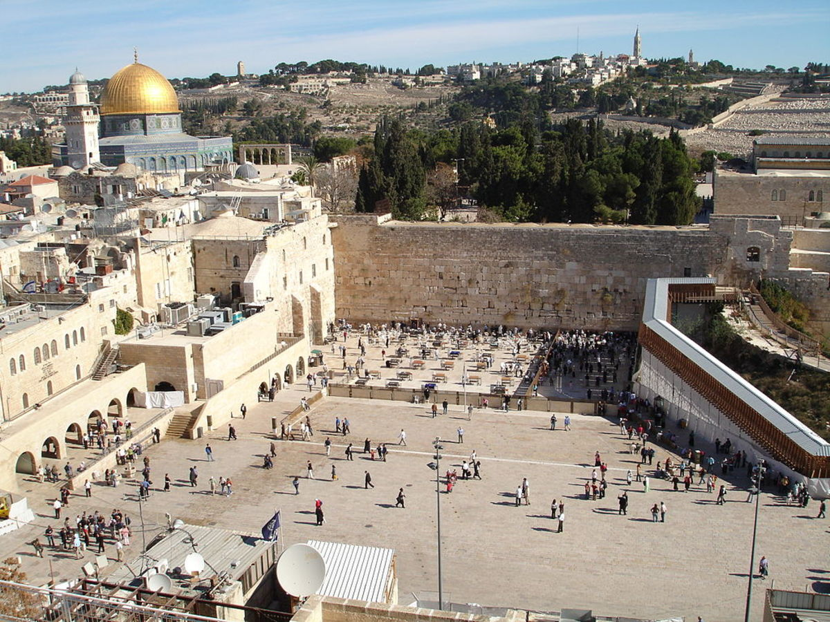 Western Wall or Wailing Wall (center), the only extant remnant of the Jewish Second Temple
