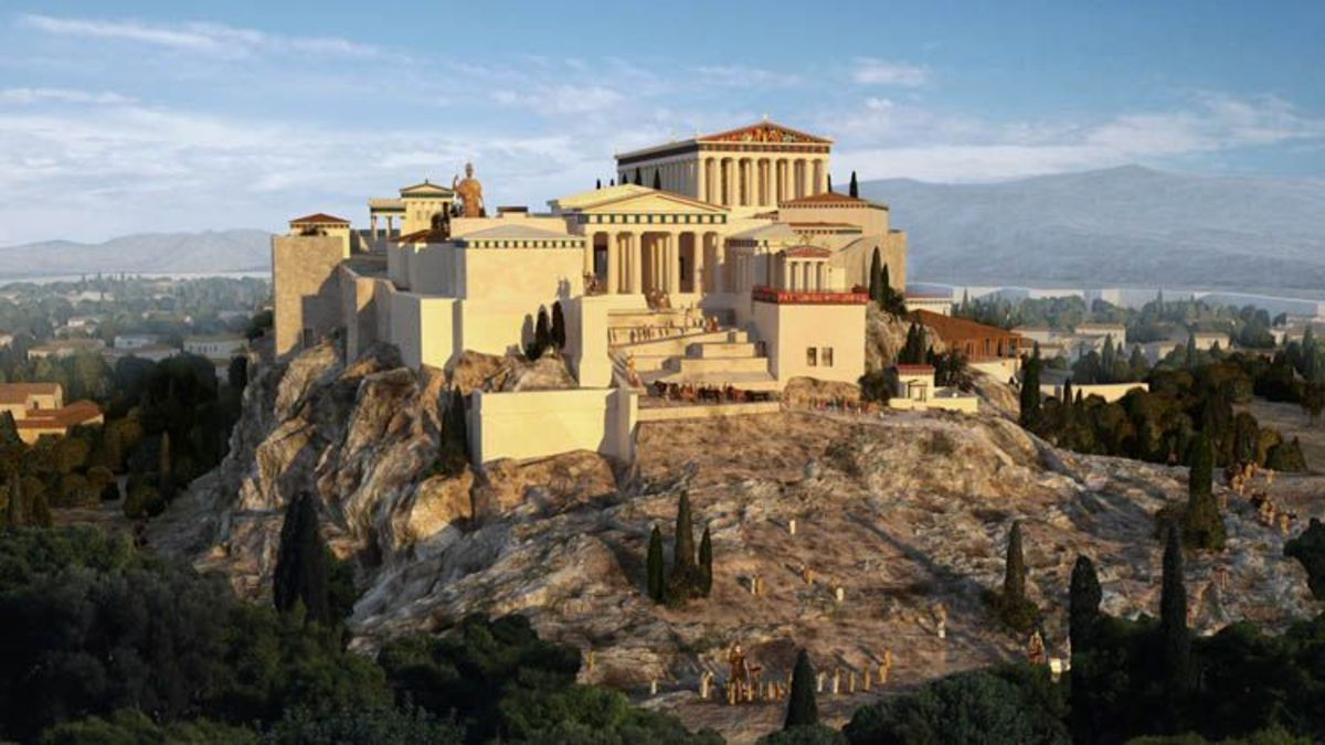 Artist's depiction of the Acropolis of Athens in 100 C.E.
