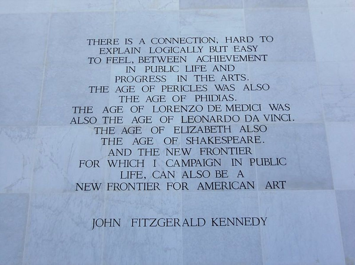 A quote in stone at the John F. Kennedy Center for the Performing Arts.