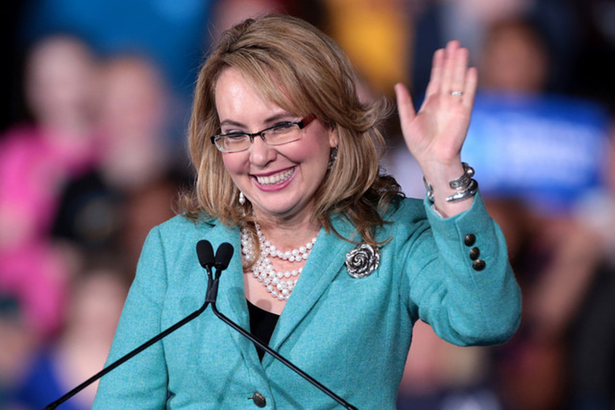 Ms. Gabrielle Giffords speaking at a campaign rally at Arizona State University in 2016.