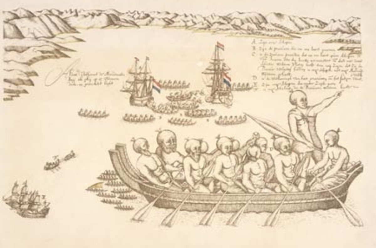 "From ""Murderer's Bay"" (Golden Bay) when Abel Tasman's ships landed in 1642. Meeting the Maori. (public domain)"