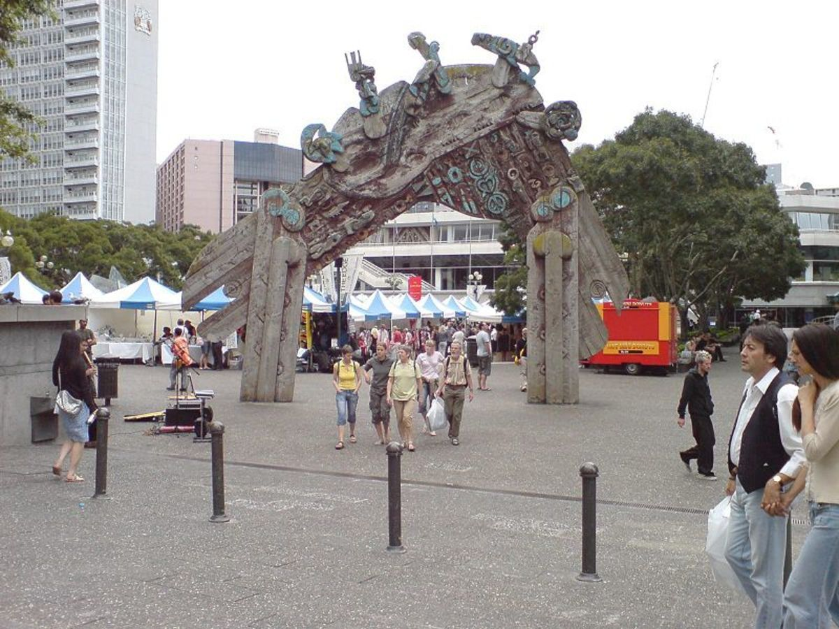 Gate in Auckland City. Wahanui (entry gate) by Māori sculptor and painter Selwyn Muru.