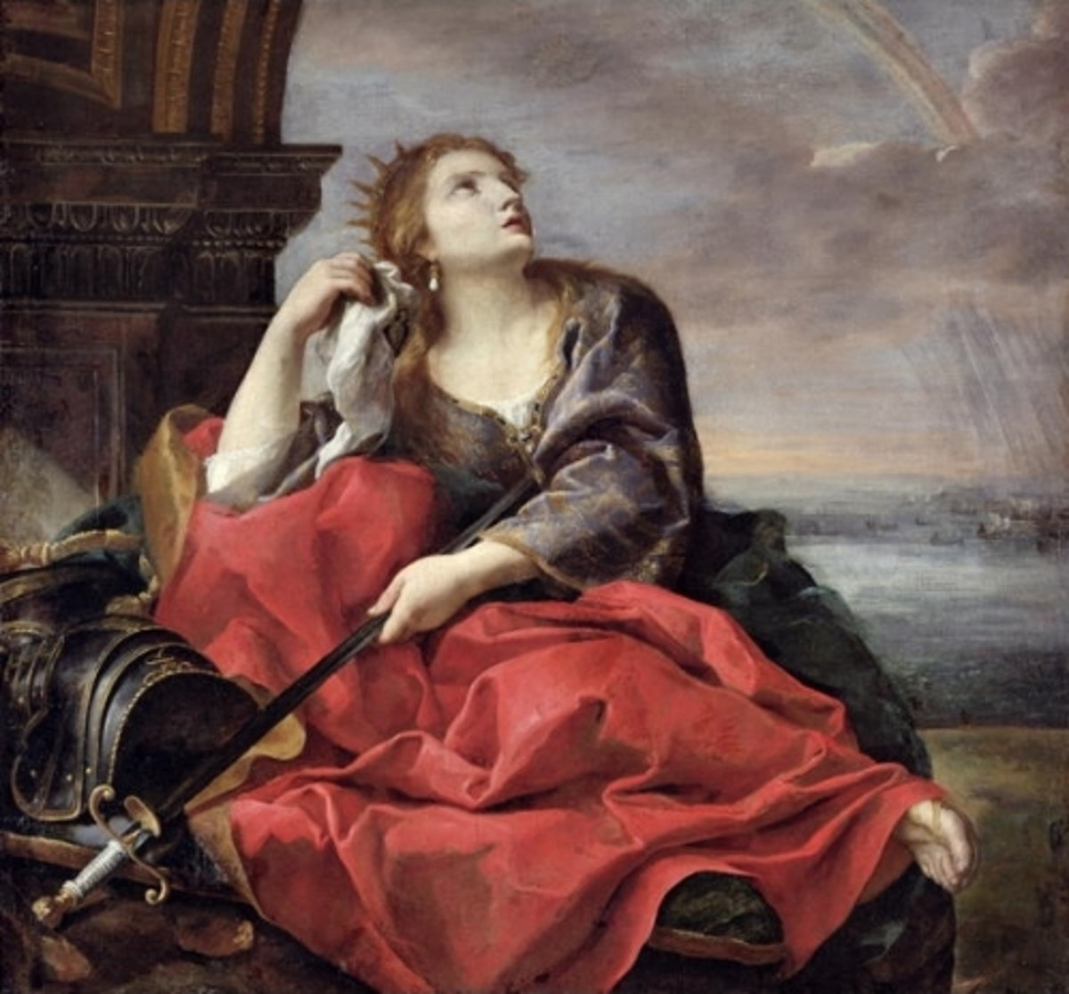 Dido stabs herself on a pyre as Aeneas abandons  her