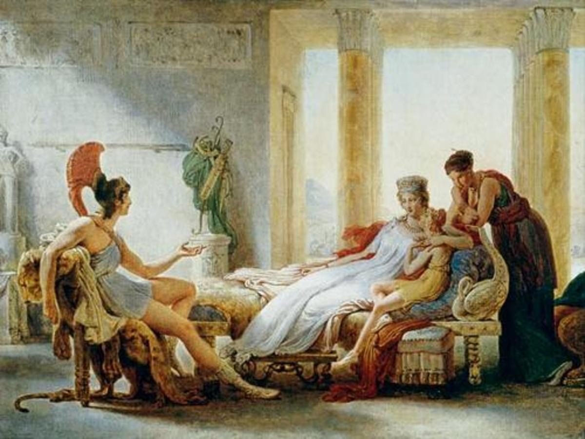 A painting of when Aeneas and Dido meet. Amor sits with Dido, disguised as Aeneas' son.
