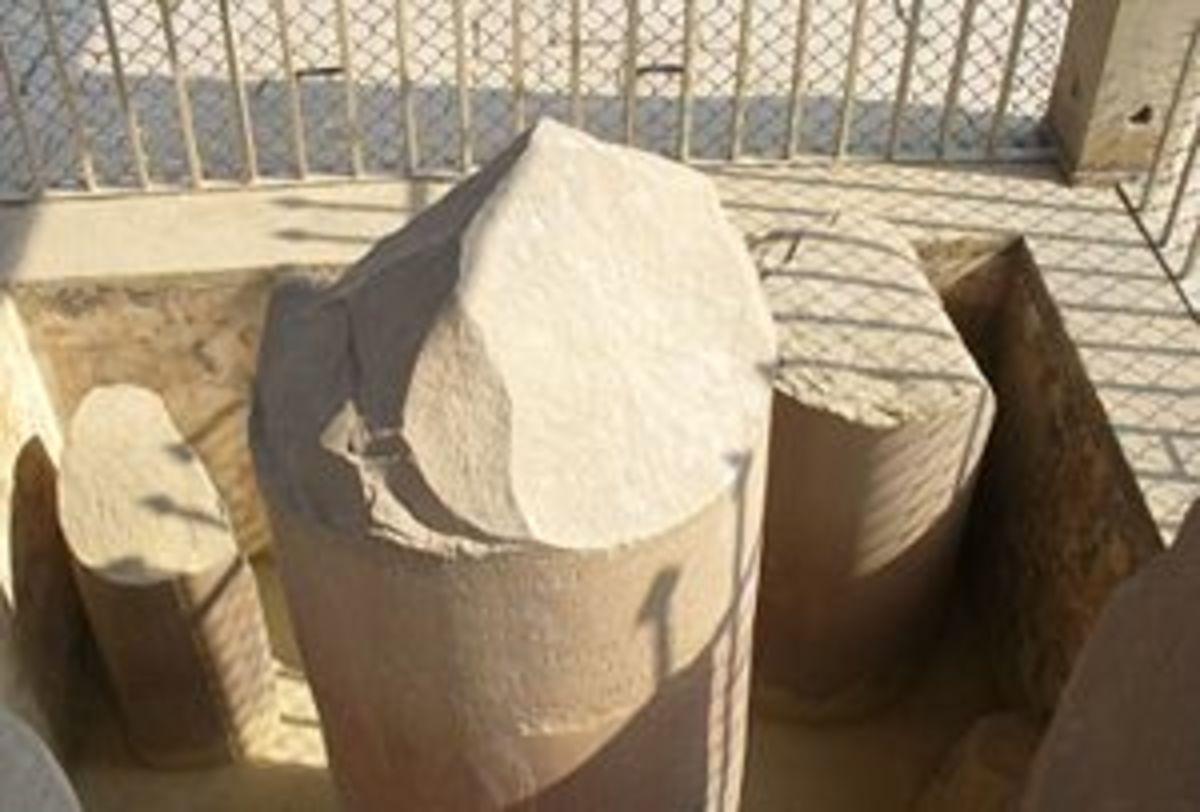 The base of the original pillar at Sarnath that was broken during Turk invasions of India