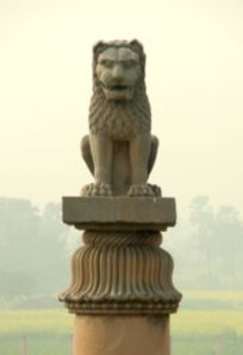 Close up of the lion at Vaishali