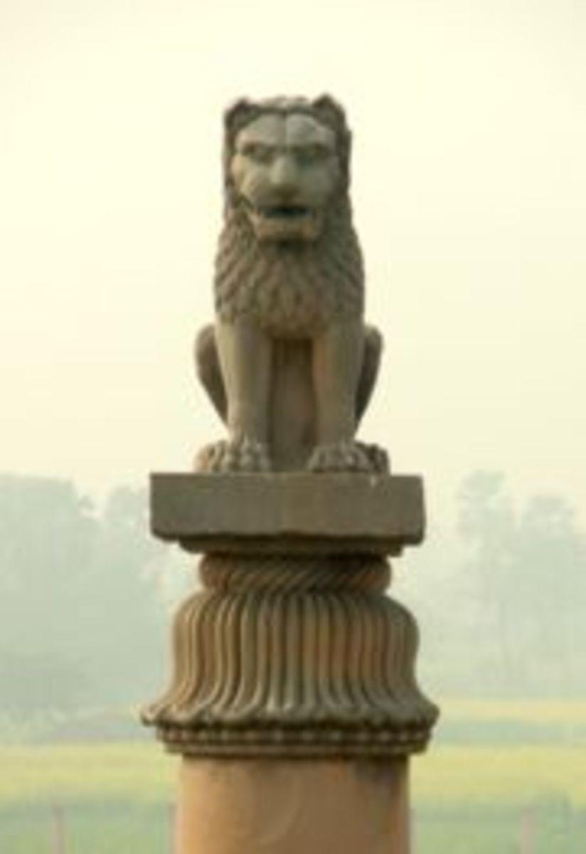 Close up of the lion at Vaishali
