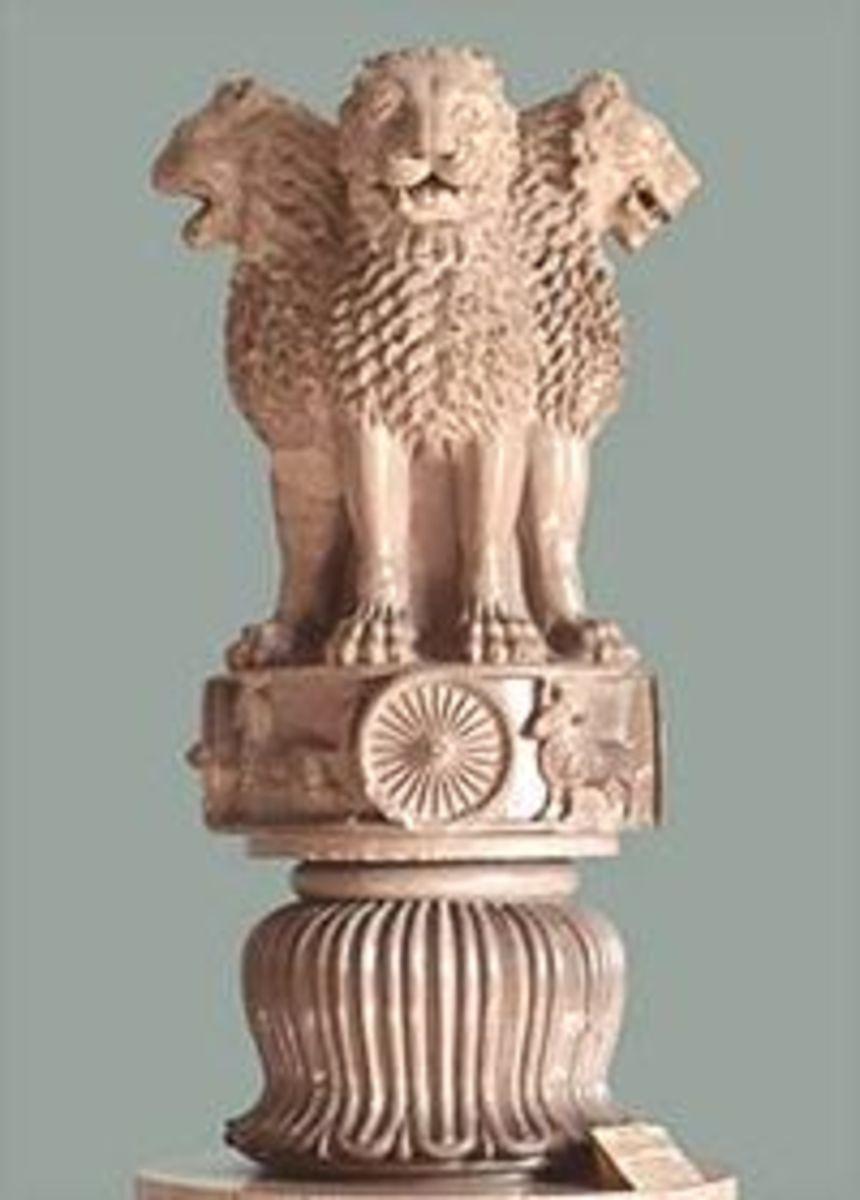 Original sandstone that sat atop a pillar at Sarnath