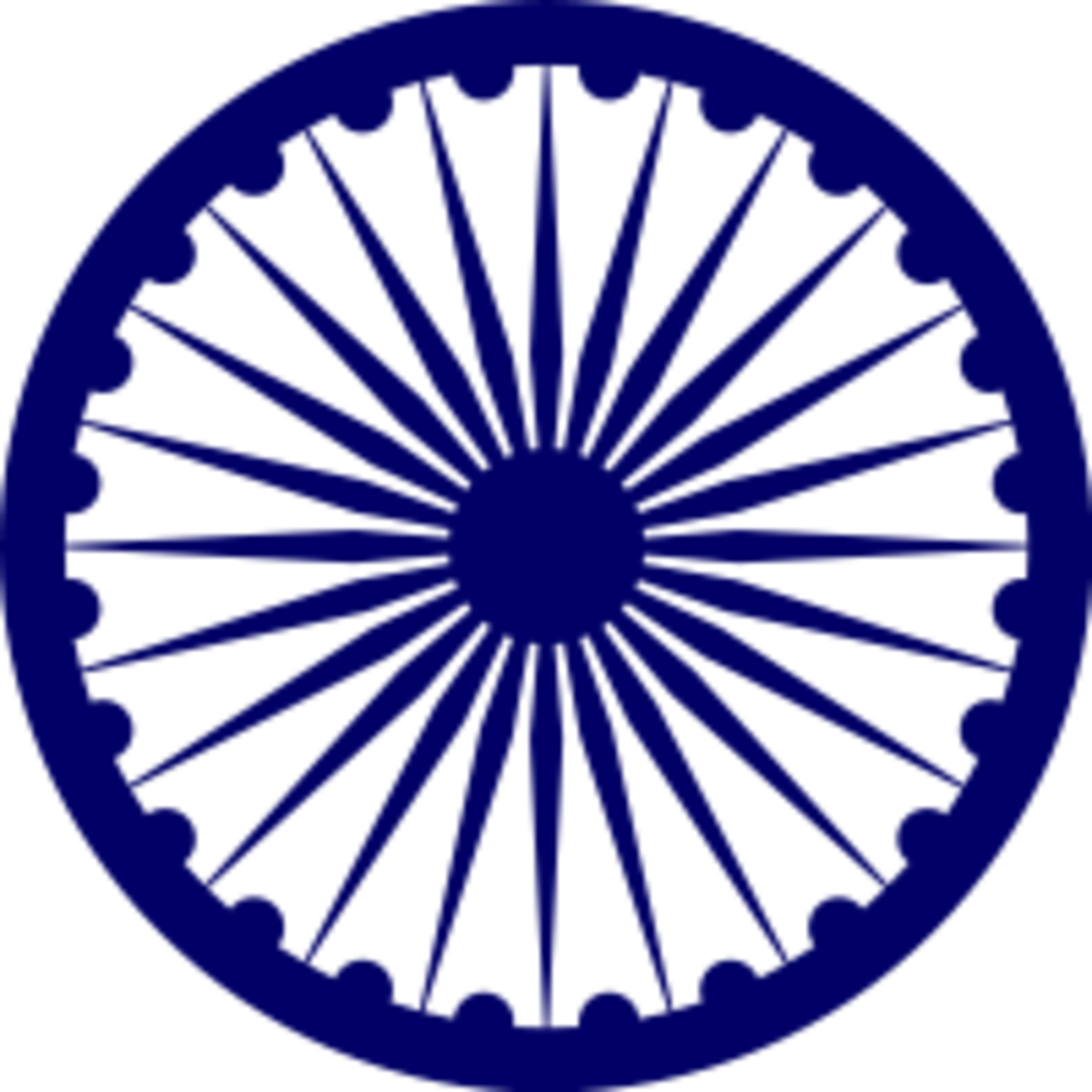 The Ashoka Chakra, known as the wheel of Dharma (Chakra means wheel)
