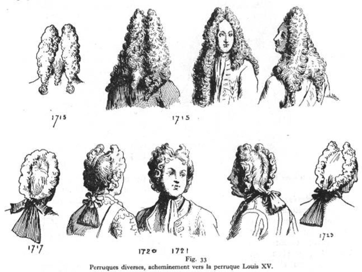"Top Row: Full Bottom Wig.  ---  Bottom Row: ""Bob Wig,"" ""Curled Tie Wig,"" or ""Campaign Wig."""