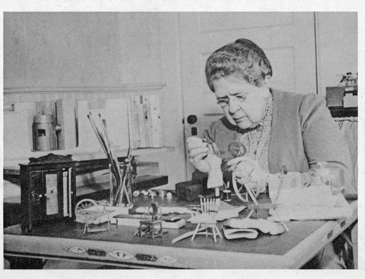 Frances Glessner Lee building a scenario in the Nutshell Collection. Source: Glessner House Museum; Chicago, Illinois. (Public domain as per http://www.nlm.nih.gov/visibleproofs/galleries/biographies/lee.html)