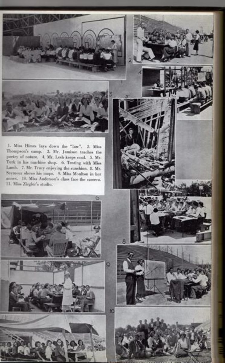 High school classes were held outdoors on the athletic fields. (Page from 1933 Poly yearbook)