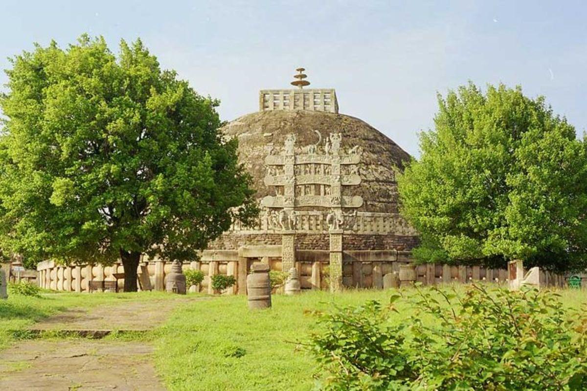 Buddhist stupa at Sanchi built during the Mauryan Empire