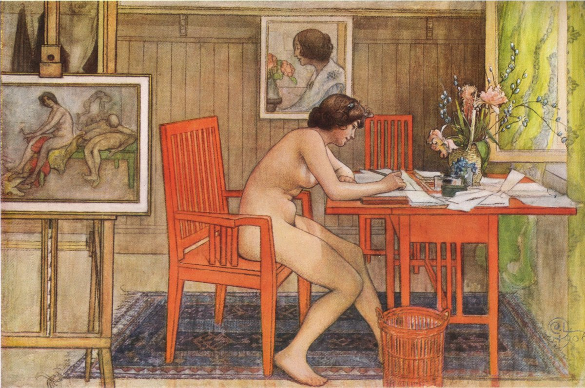 Model with postcards by Carl Larsson, 1906. Courtesy of Wiki Commons