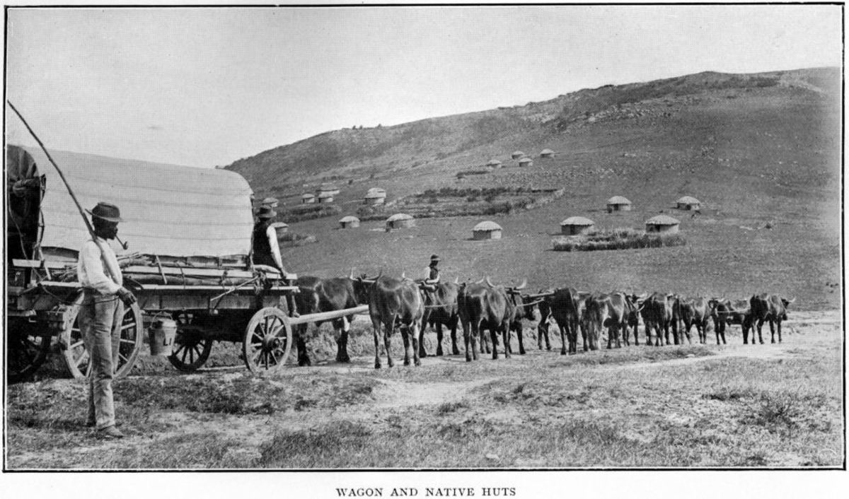 A photo from the late 19th Century showing the type of terrain the early missionaries had to contend with and the most common mode of transport. The rondavels in the background are the homes of local people