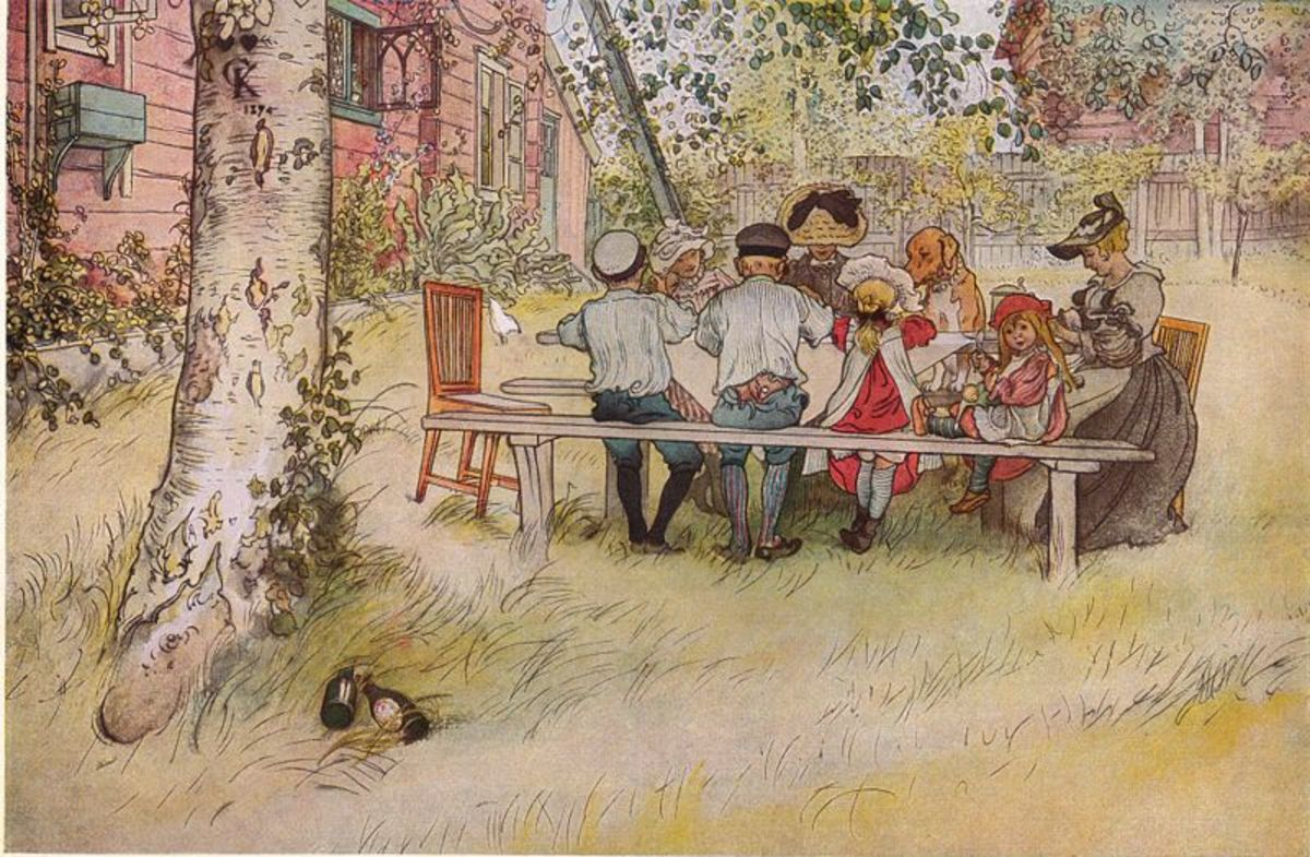 Breakfast under the Big Birch by Carl Larsson, 1896. Image courtesy of Wiki Commons
