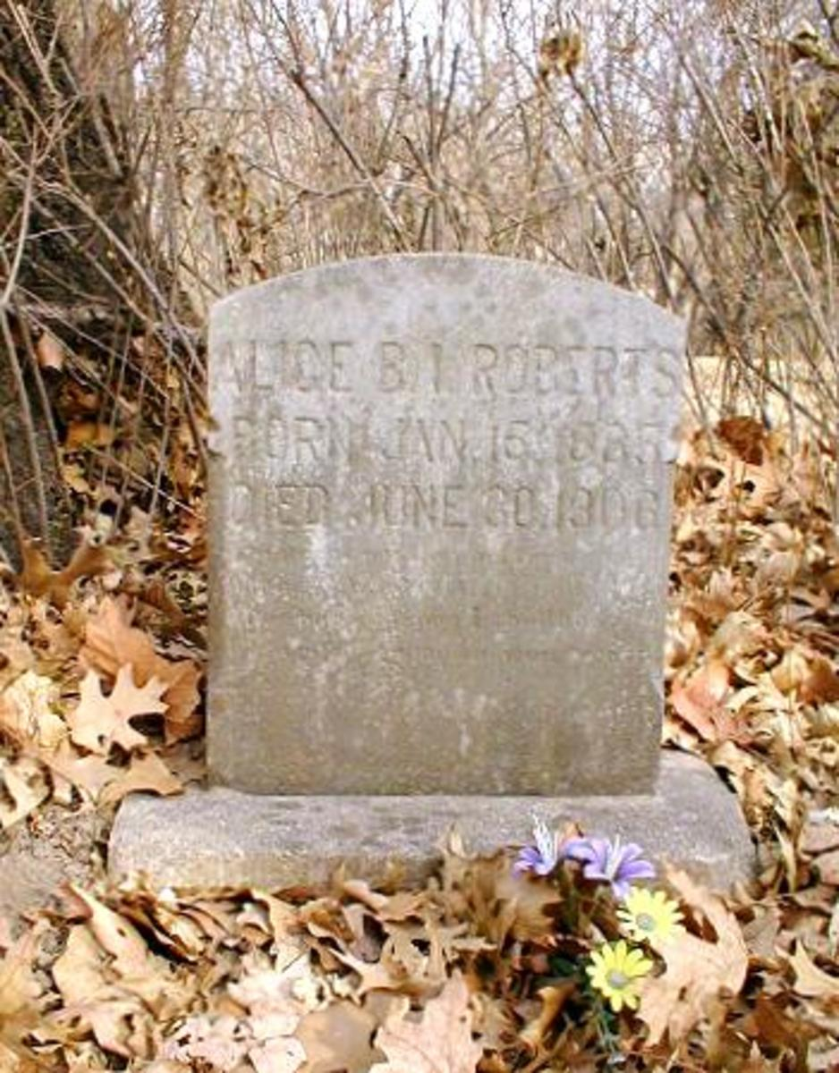 Alice (Mrs. John) Roberts, granddaughter of John Wesley Ready & Sarah Stapleton Ready, is second stone from the left.