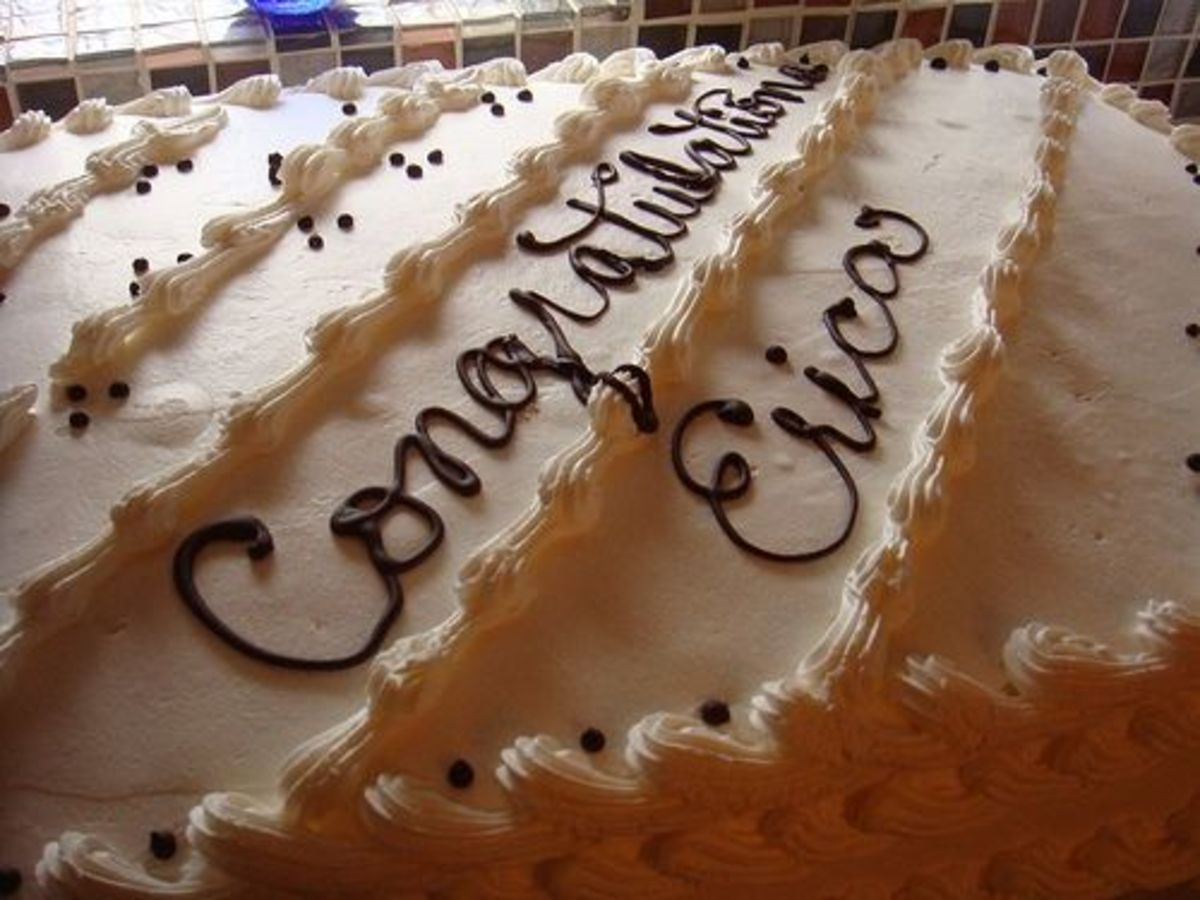 Practice cursive on cake and cupcakes.