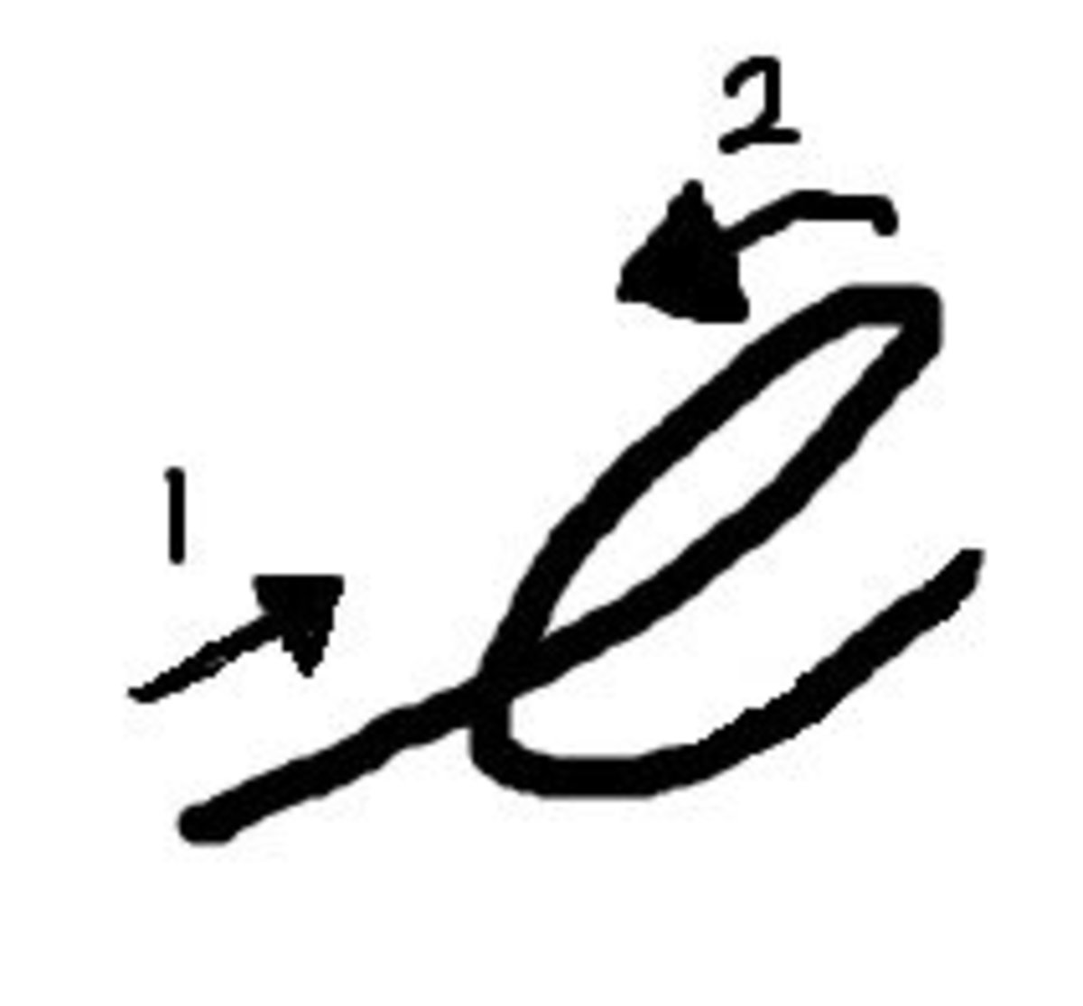 "Writing the letter ""e"" in cursive."