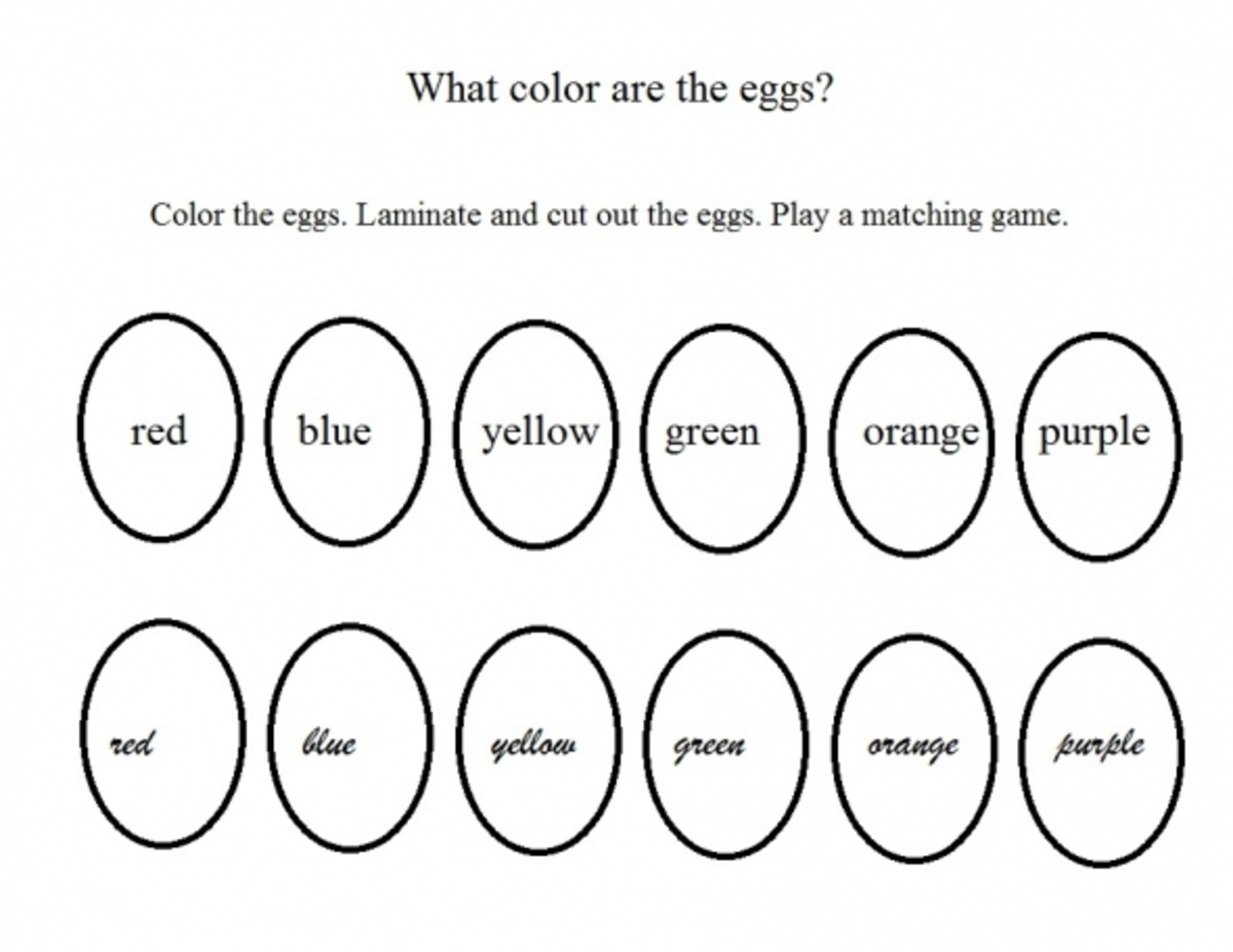 Matching eggs worksheet.