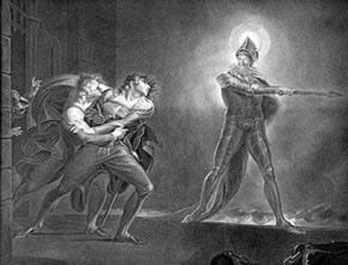 Horatio, Marcellus, Hamlet, and the Ghost (Artist: Henry Fuseli 1798)