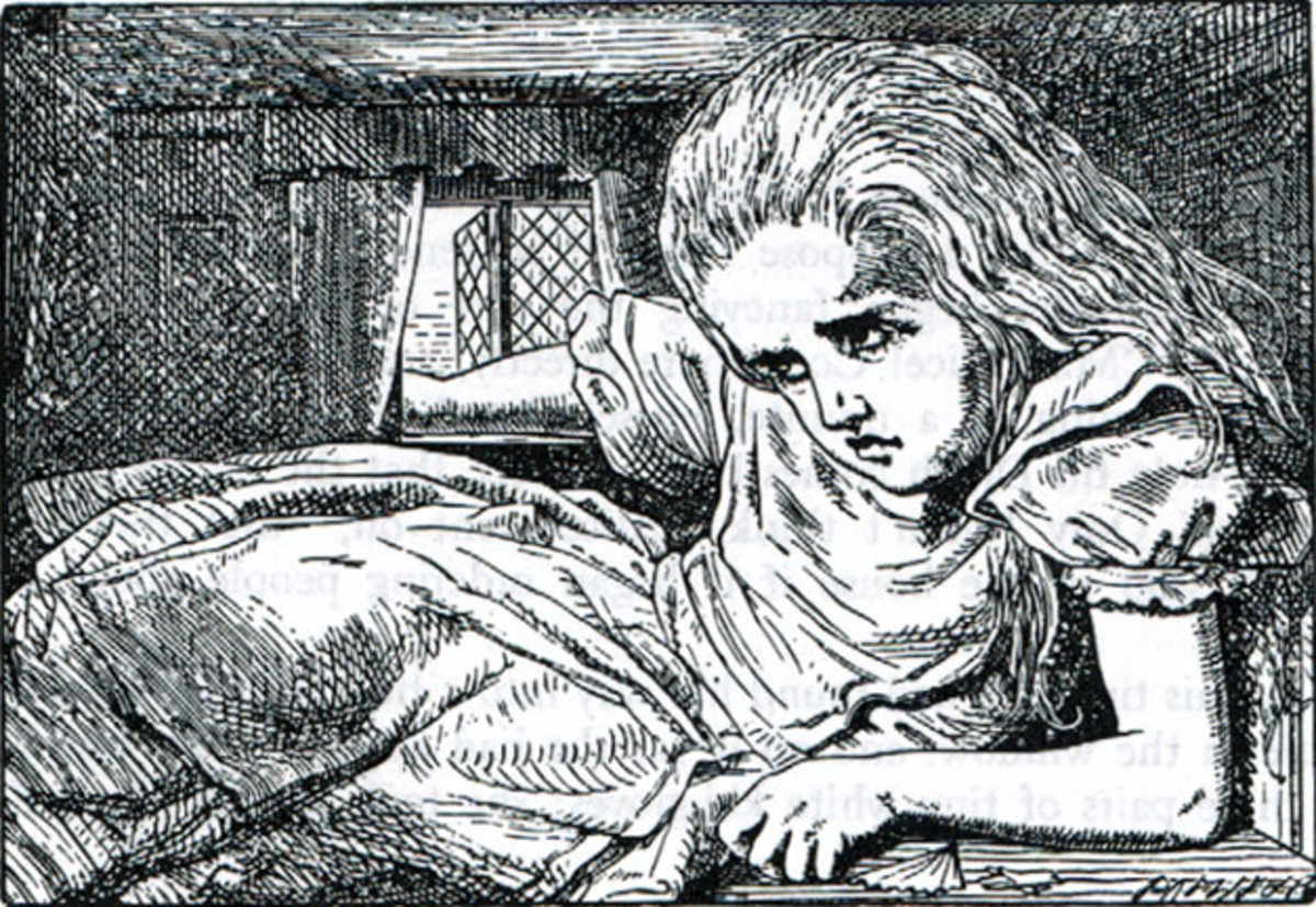 Illustration to the fourth chapter, by John Tenniel. Wood-engraving by Thomas Dalziel.