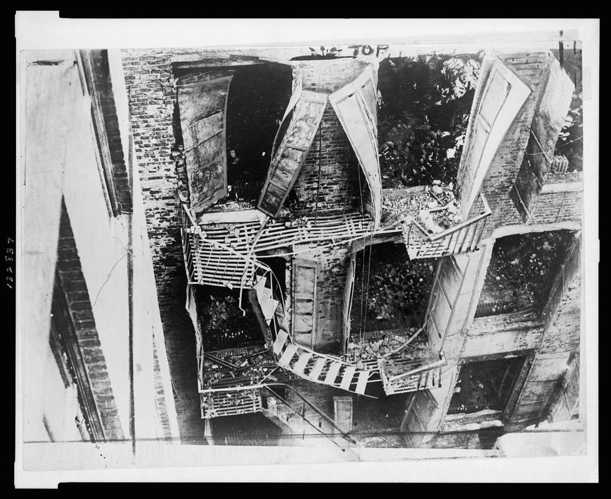 Collapsed fire escape