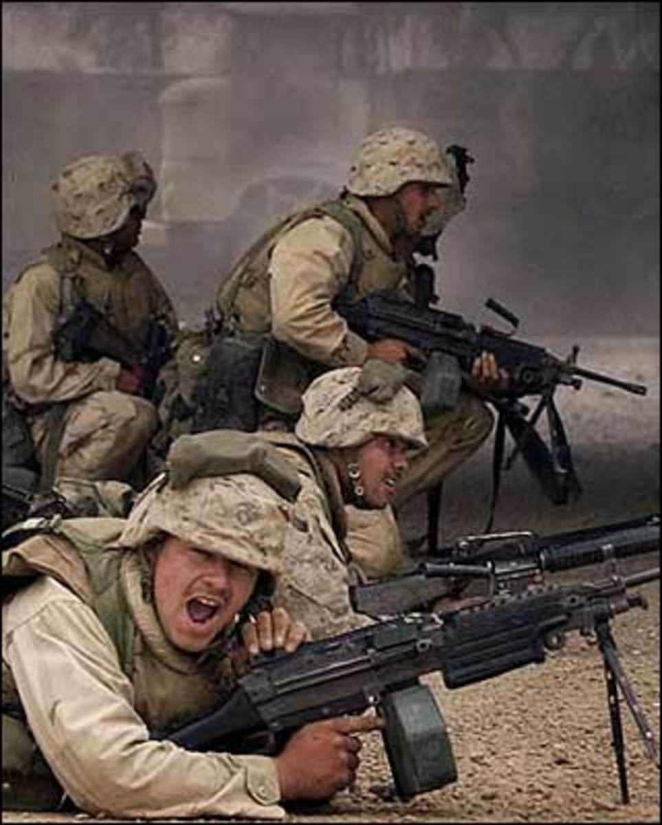 American soldiers engaged in battle in Iraq