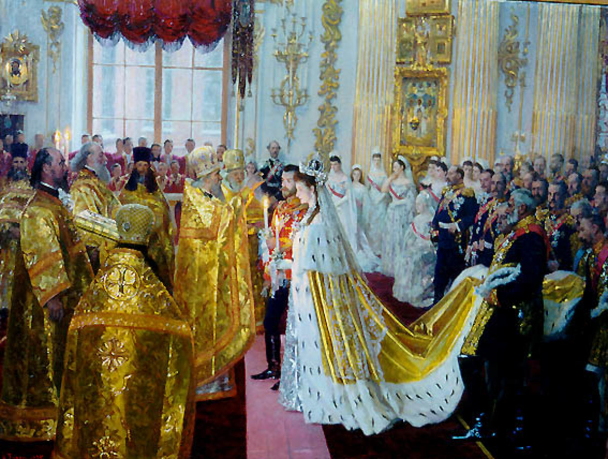 Wedding of Tsar Nicholas II by Laurits Tuxen, painted in 1895. Image courtesy of Wiki Commons