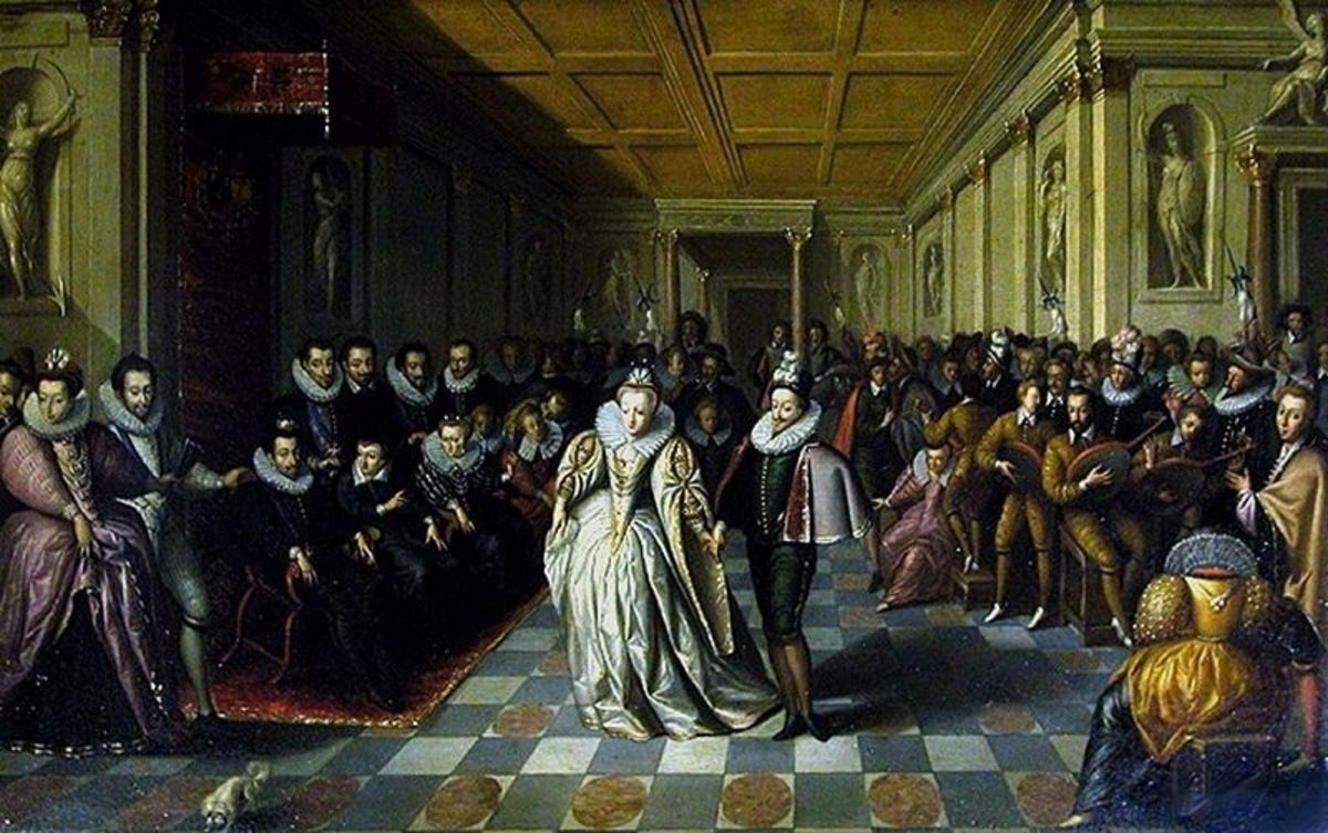 The Wedding Ball of the Duc de Joyeuse was painted in or around 1581 by an unknown artist. Image courtesy of Wiki Commons