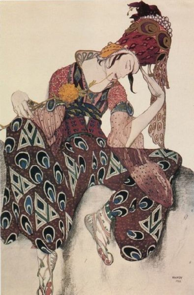 Sketch for the costume of Iskander for the ballet, Le Peri by Leon Bakst, 1911. Image courtesy Wiki Commons