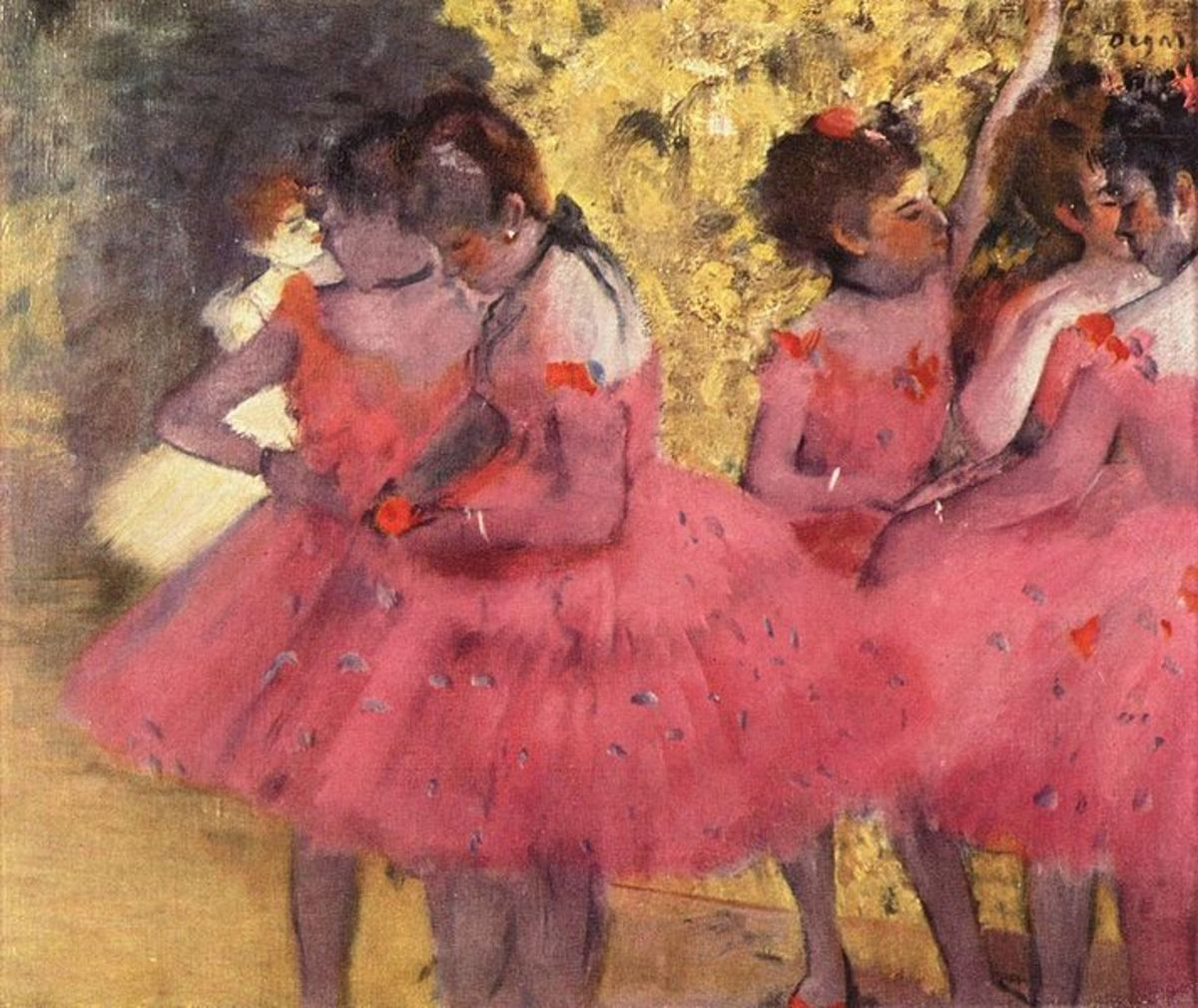 Dancers in Pink between scenes, 1884 by Edgar Degas. This painting hangs in the Ny Carlsberg Glypotek in Copenhagen. Image courtesy of Wiki Commons