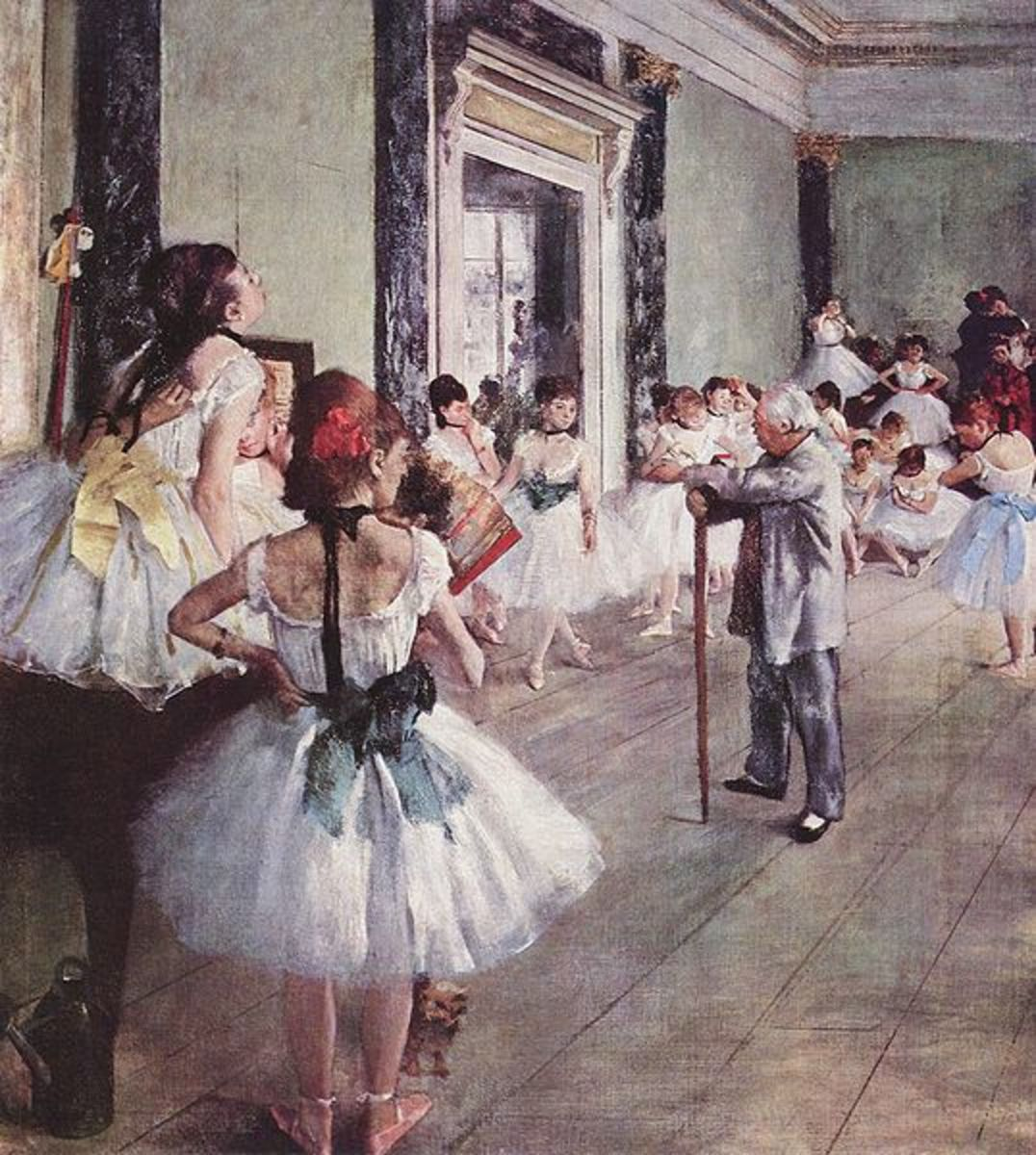 The Dance Class by Edgar Degas, 1875. This Oil on Canvas hangs in the Musee D'Orsay in Paris. Image courtesy of Wiki Commons