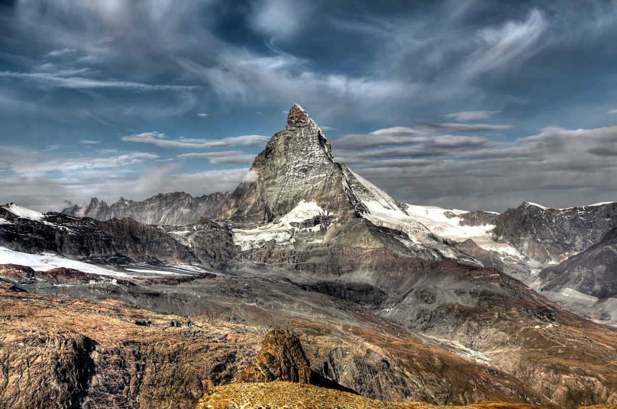 The rocks on the top of the Matterhorn slid there from Africa.