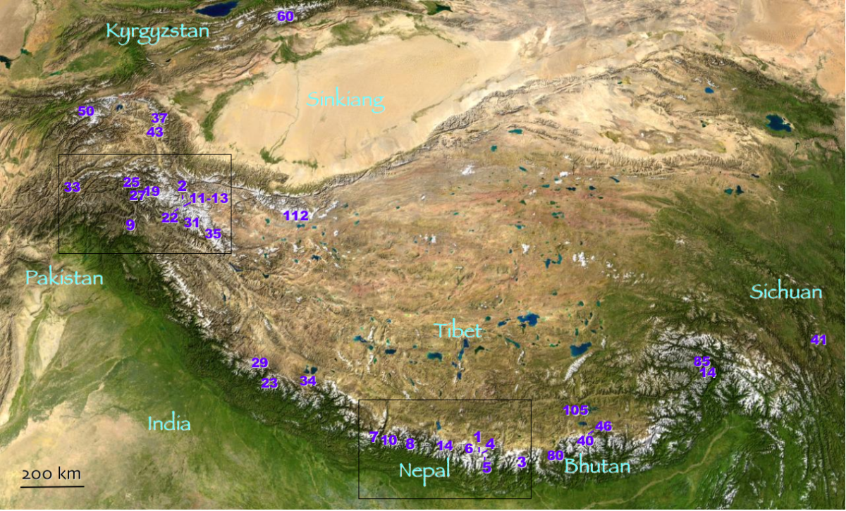 The purple dots indicate the world's highest mountains:  from Everest (#1) on down, the hundred tallest are in Central Asia.