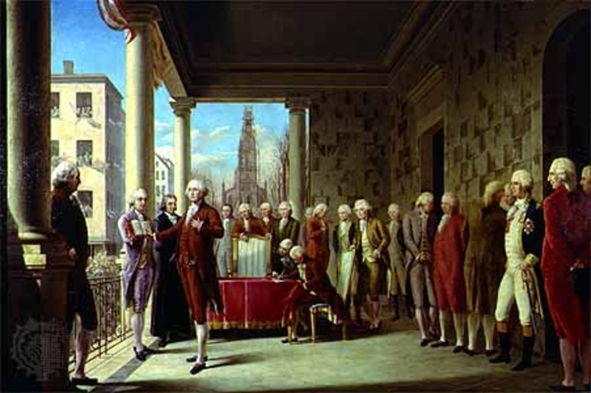 "Here, Washington is depicted being sworn into office. A Masonic Bible was used when Washington took the oath. Washington added to the presidential oath these words ""so help me God."""