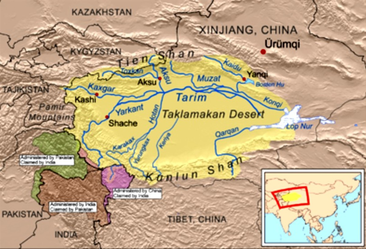 Tarim - map where the mummies were found