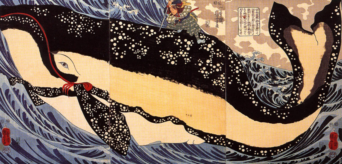 Mushashi fighting against a whale.
