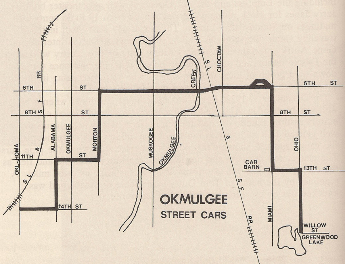 The complete route that the Okmulgee Street cars ran daily.