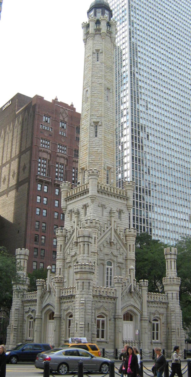 CHICAGO WATER TOWER BUILT IN 1869 SURVIVED THE GREAT CHICAGO FIRE