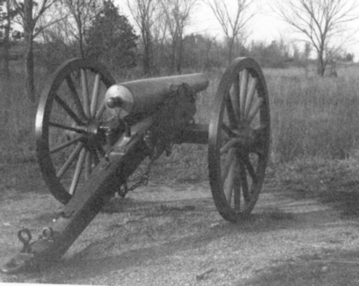 Oklahoma Civil War Naval Battle: Civil War 8-pounder light mountain howitzer. Stand Watie's three cannon were of this type, but on a smaller scale, firing a 3.5 diameter solid shot iron ball.