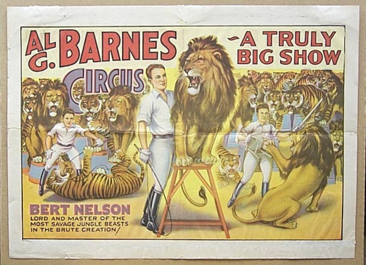 One of the shows that featured Mabel Stark. Virginia Barnes Stonehouse writes on Amazon.com of her dad, Al G. Barnes, and his circus where Mabel Stark performed.